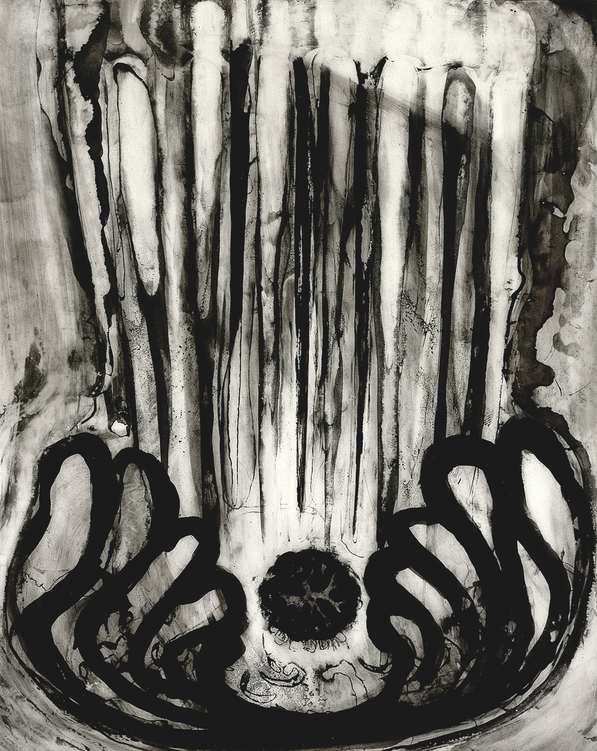 """Brian Wood <br> """"Held,"""" 1999 <br> Ink on mylar <br> 8.5 x 7 in."""