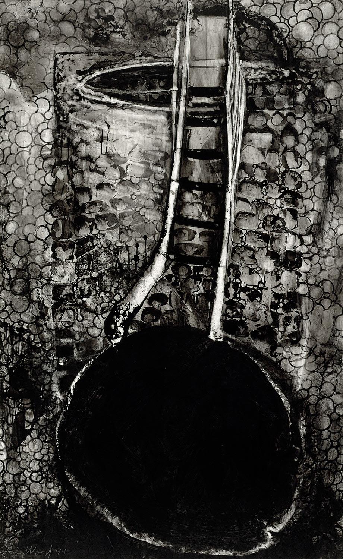 "Brian Wood <br> ""Door,"" 1999 <br> Ink on mylar <br> 20.5 x 12.5 in."