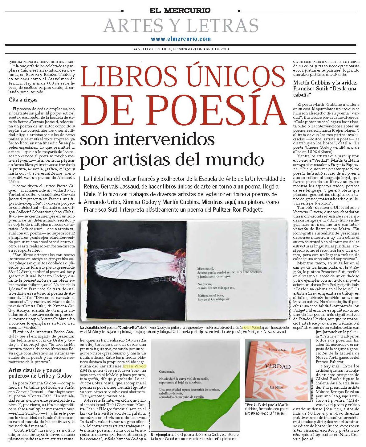 Brian Wood  in review of  Vacio Escritura Color: Global Books Exhibition  in  El Mercurio , Museo San Francisco, Santiago, Chile  PDF