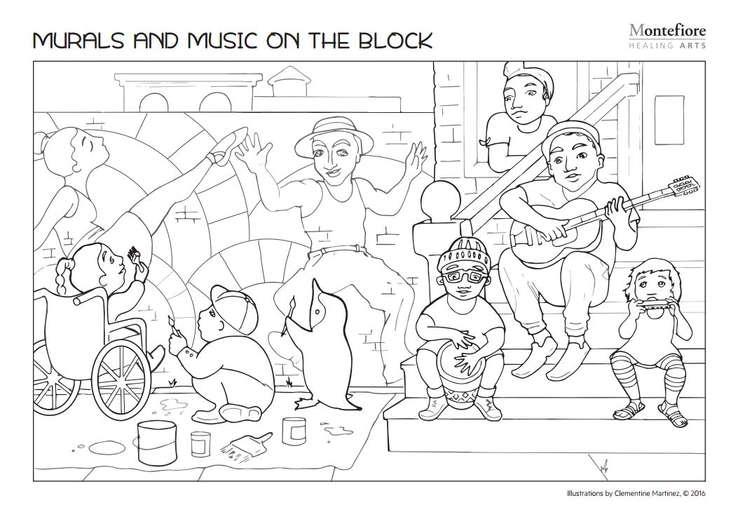 Coloring Book Spreads for Montefiore Hospital