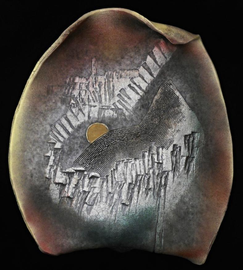 MOON RISING - RAKU WALL PIECE