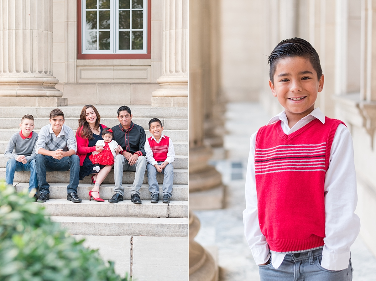 family portraits vintage courthouse white columns marble entry red gray black outfits_0327.jpg