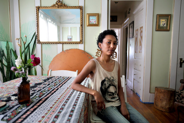 """Halima Cassells has started a """"builders' club,"""" where those who help labor on the house's restoration will in return be given space to work in what she hopes will become a rotating workshop for community projects and artists.  FABRIZIO COSTANTINI FOR THE NEW YORK TIMES"""