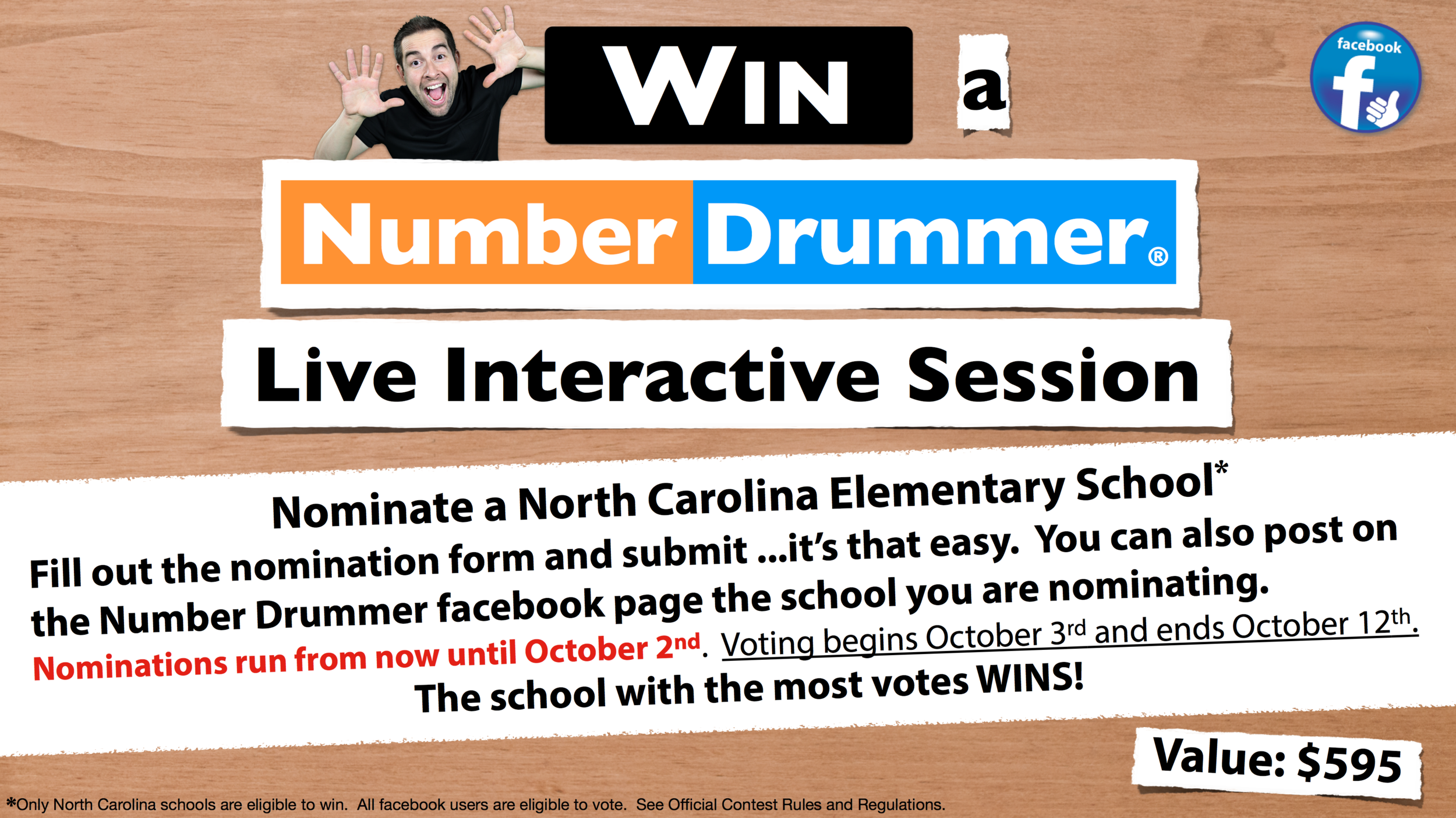 Voting begins Friday, October 3rd, 2014 and ends Sunday, October 12th, 2014.  Voting takes place on the Number Drummer facebook page only.  Stay tuned to facebook and the website for more details.  There will also be a facebook voting link on the Number Drummer website to provide extra assistance.  See the  Official Contest Rules & Regulations  for more information.