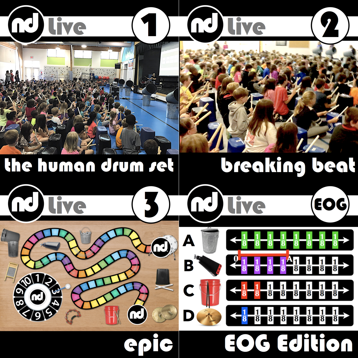 Number Drummer Live is high energy and provides the opportunity for every audience member to perform.  It is the ultimate live interactive math and music experience.