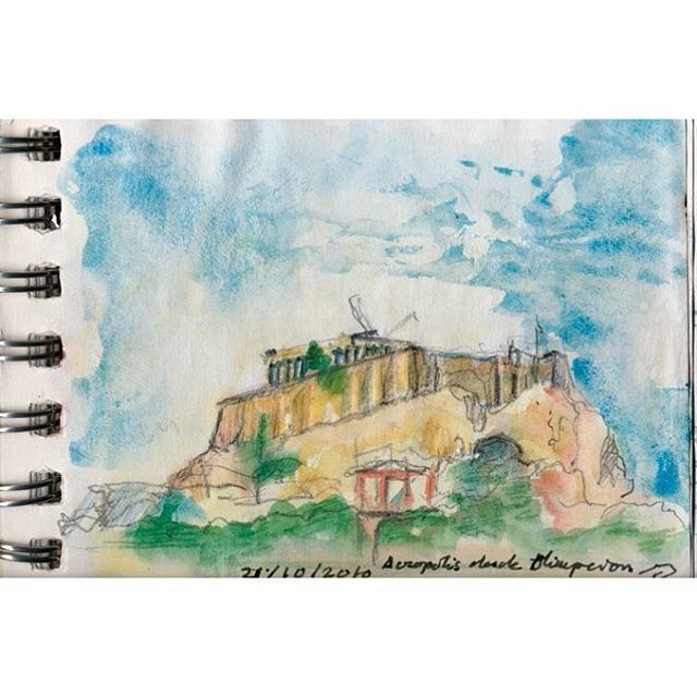 #jesusaparicio #sketch #athens #acropolis #architecture #watercolor