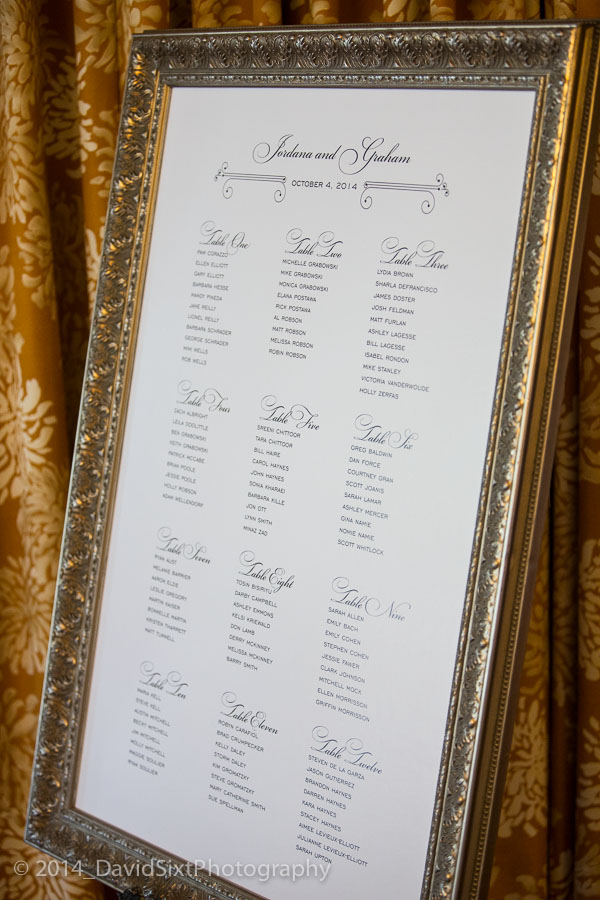 Custom designed seating chart with custom frame.