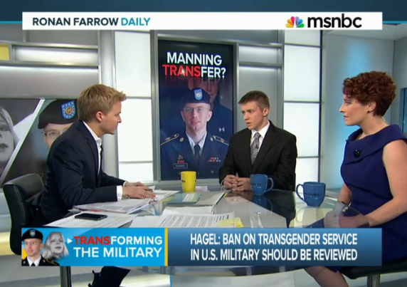 U.S. Navy Veteran, Landon Wilson and TransMilitary Host & Producer, Fiona Dawson interviewed by  MSNBC 's Ronan Farrow shortly after U.S. Defense Secretary Chuck Hagel stated that military policies banning transgender service members should be reviewed.