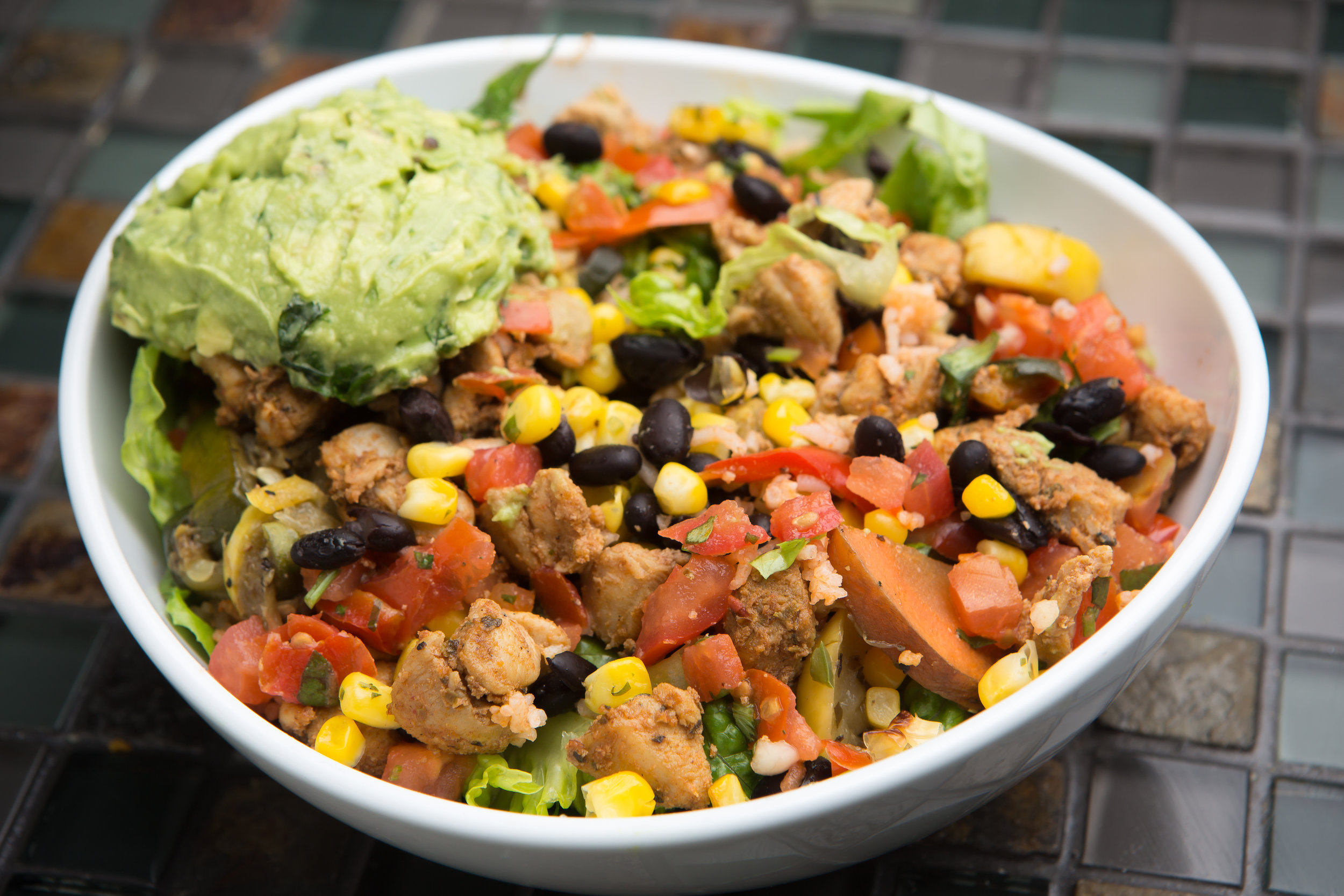 Chicken burrito bowl at OMG