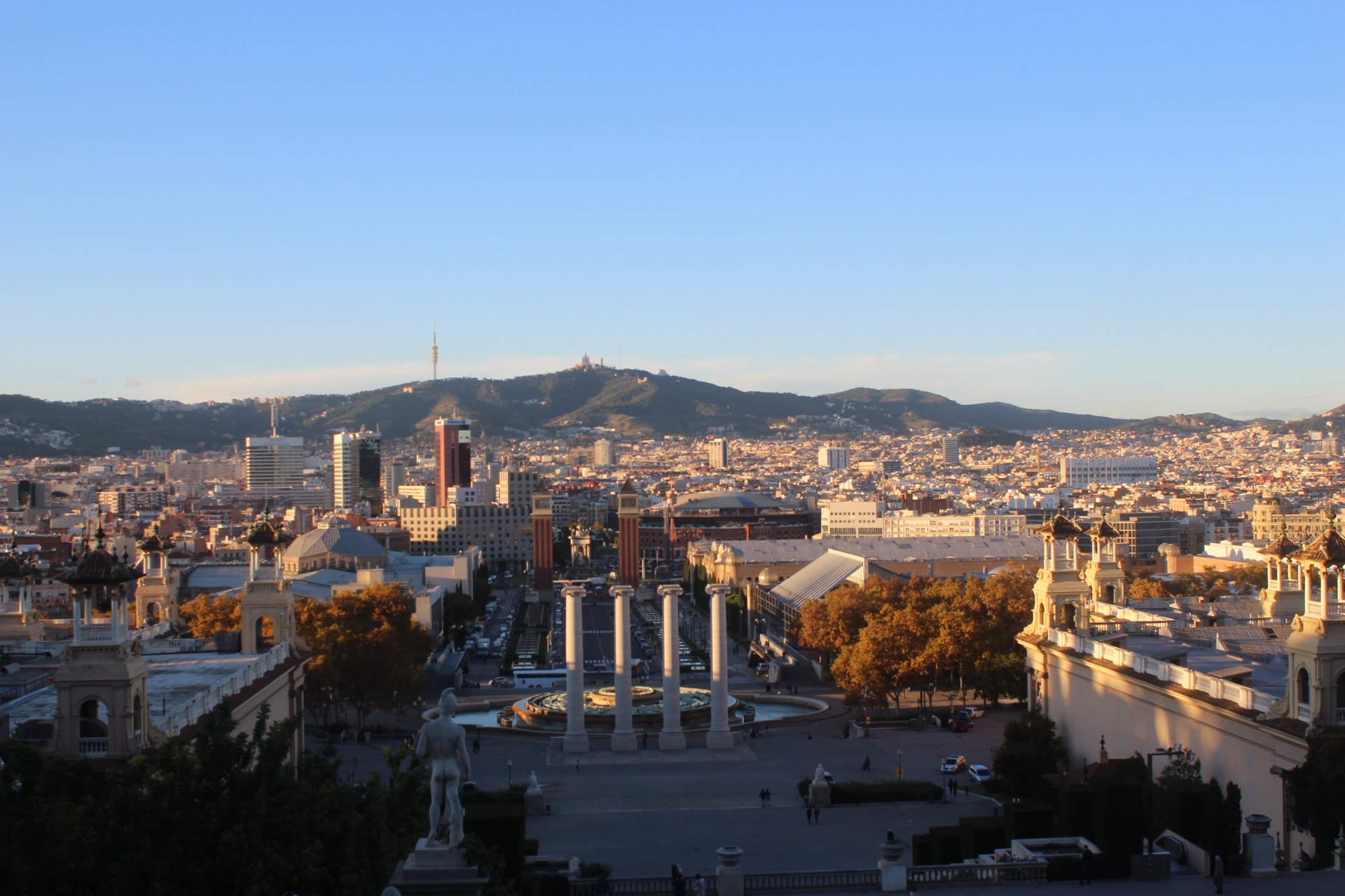View of Placa De Espana from the Museum of Catalunya.
