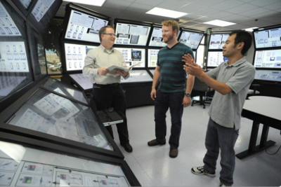 Tom with Ron and Roger at INL's Virtual Control Room
