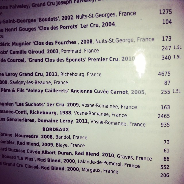 Most expensive wine menu I have seen to date - we treat our students to great dining experiences :)