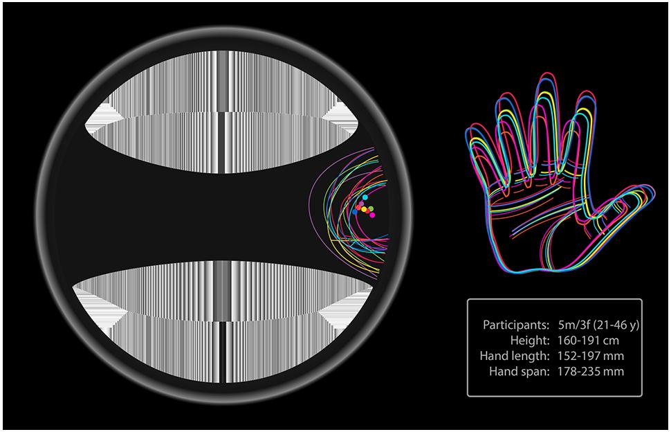 Anthropometric data for dominant thumb reach on steering wheel