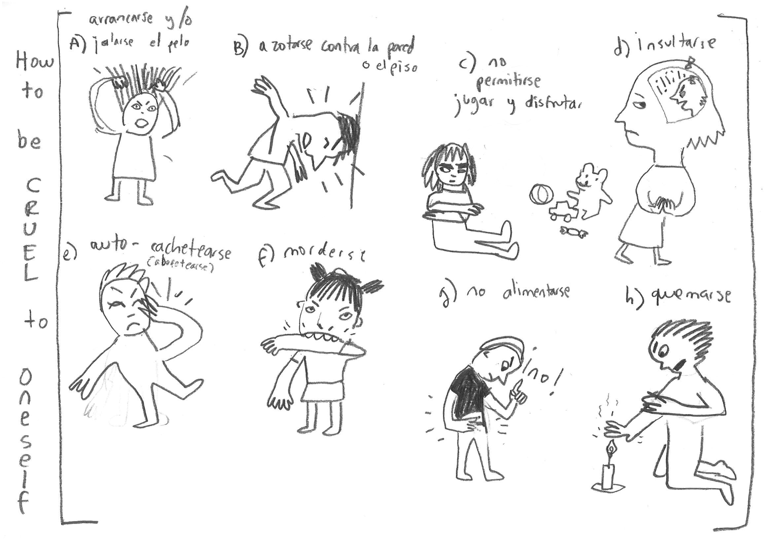 Sketch by Daniela Martagón, preliminary study for Cruelty Bites by Wonder Ponder. A) Pull out or pull one's hair. B) Bang head against the wall. C) Not allow oneself any play or enjoyment. D) Insult oneself. E) Slap oneself. F) Bite oneself. G) Not feed oneself. H) Burn oneself.