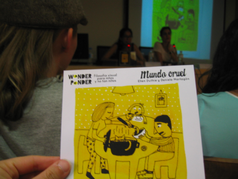 Daniela took specially designed cards for the event, showing our cat stew scene, with plenty of questions from all angles at the back.