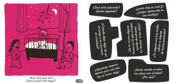 """Anverso (ilustración) y reverso (preguntas) de una de las 14 láminas con escenas de """"Mundo Cruel"""""""
