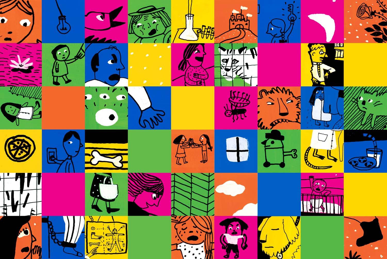 Mosaico de partes de escenas de Mundo cruel . Un conjunto de 14 escenas de crueldad que dan que pensar y a las quepuede añadir el joven lector/pensador, dibujando las suyas propias y planteando sus propias preguntas.