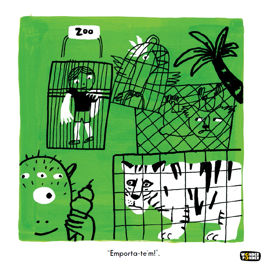Escena de    Món cruel    de la sèrie de Filosofia visual per a nens (i no tant nens) de Wonder Ponder