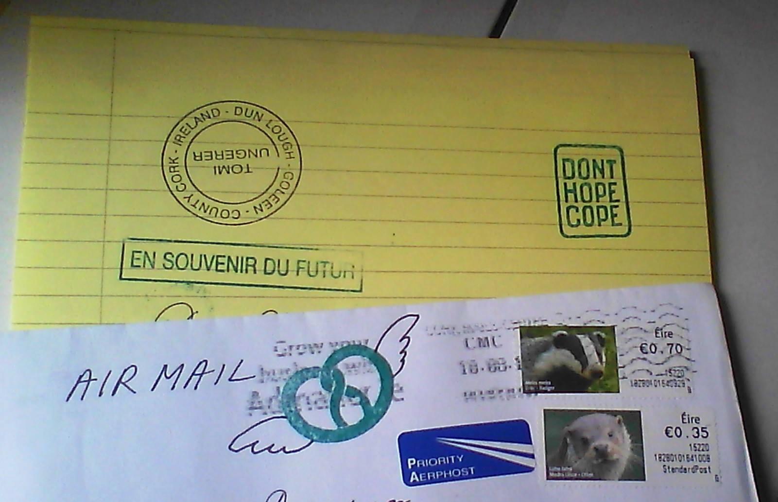 La carta que Tomi Ungerer nos envió después de que le enviásemos  Mundo cruel  y  Yo, persona .