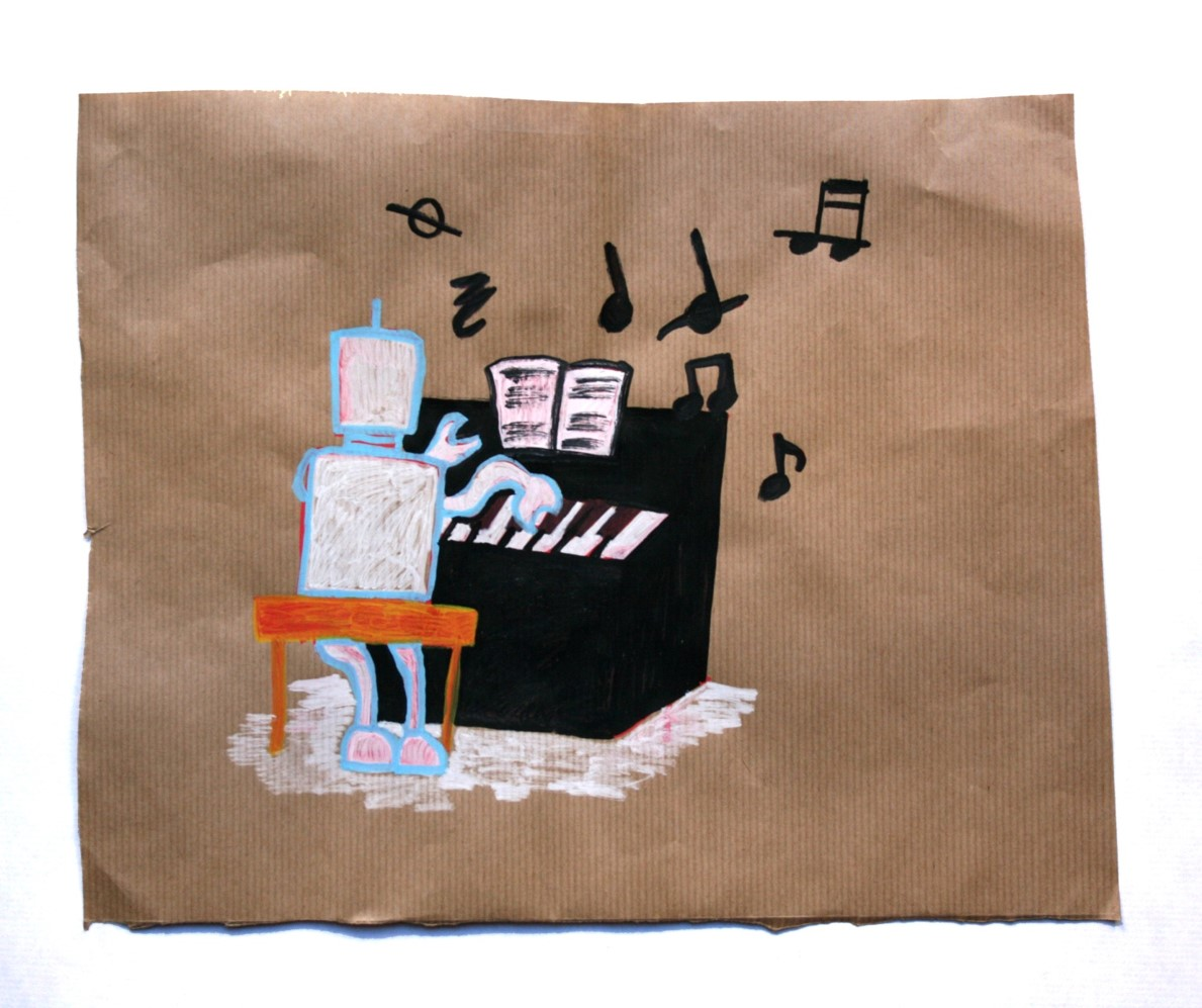 Una escena concebida e ilustrada por Andrea, de 11 años a partir de diálogos sobre personas y robots.