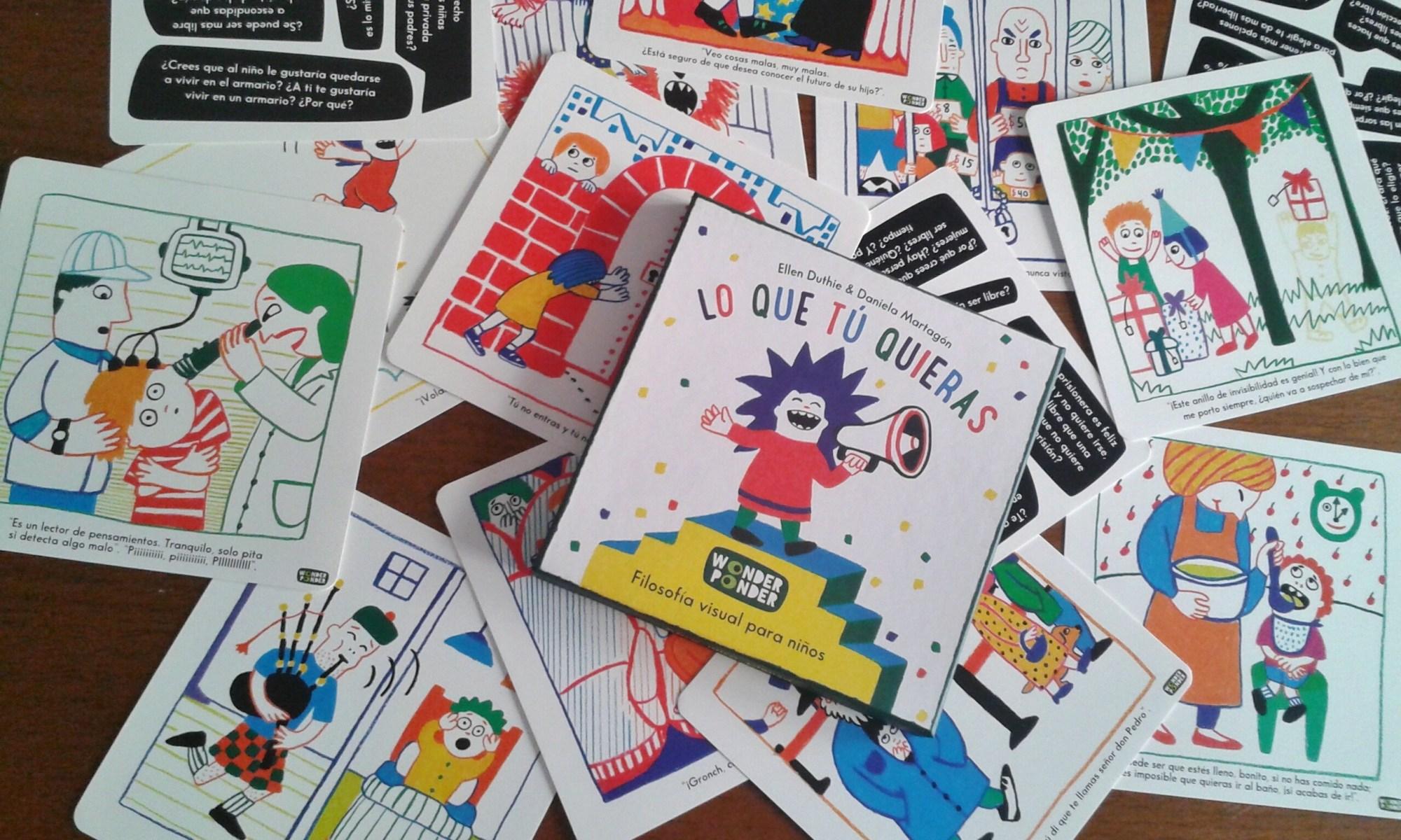 Caja y tarjetas de Lo que tú quieras, de Ellen Duthie y Daniela Martagón