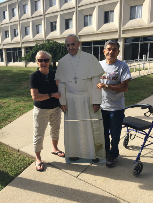 While Pope Francis did come to Philadelphia in the Fall of 2015, we could only manage a cutout of the Holy Father for this photo opp with George and Diane Zine.