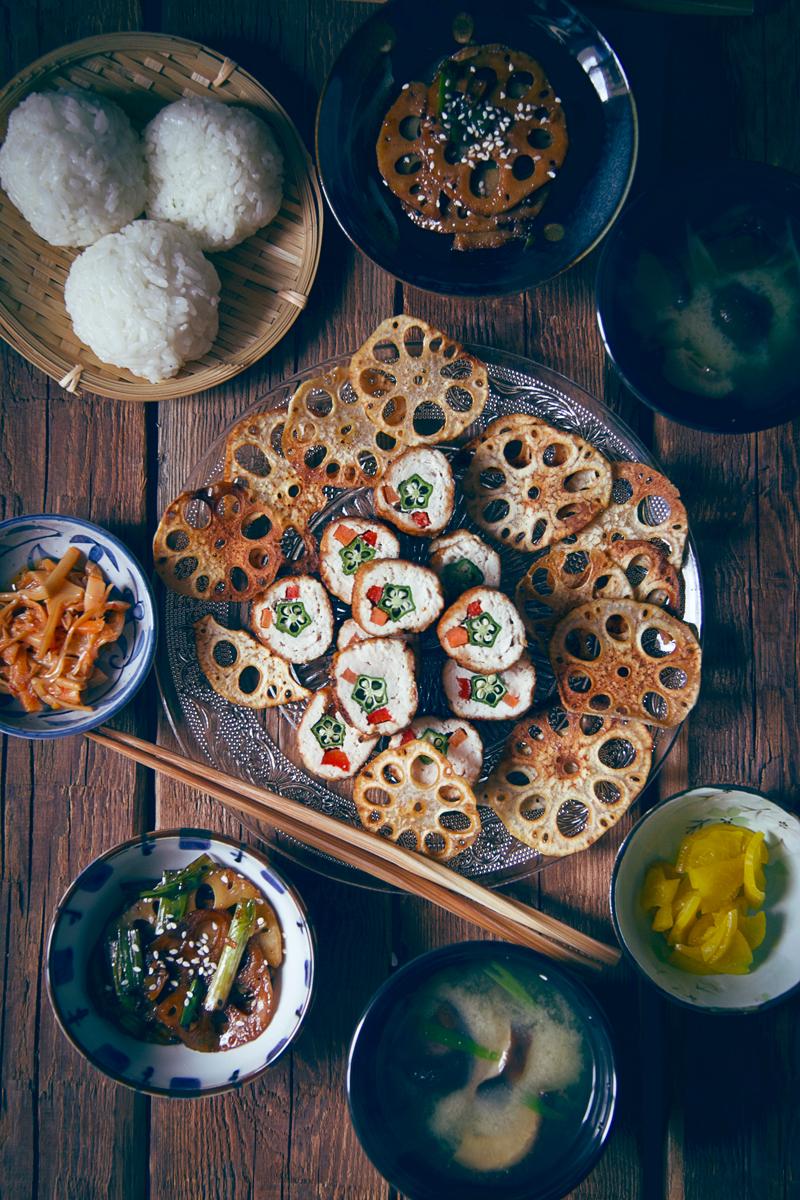 menú japonés con rollitos de okra
