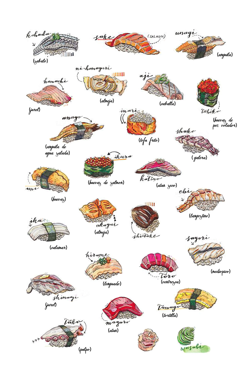 diferentes tipos de nigiri sushi