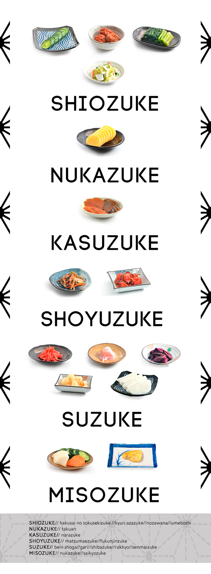 variedades de encurtido japonés