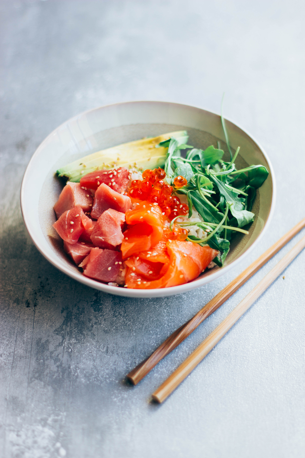 tuna salmon poke bowl