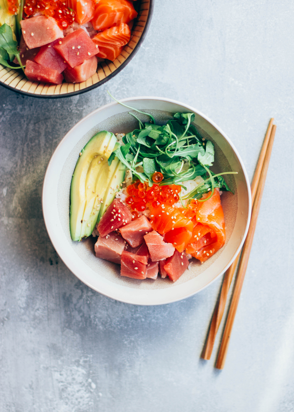 salmon tuna poke bowl