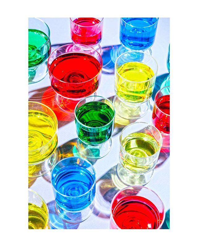 Happy weekend! 💙💚💛❤️ . . #color #drink #glasses #red #yellow #green #blue #liquid #beverage #glassware #pattern #foodphotography #stilllife #instagood #art #fineart