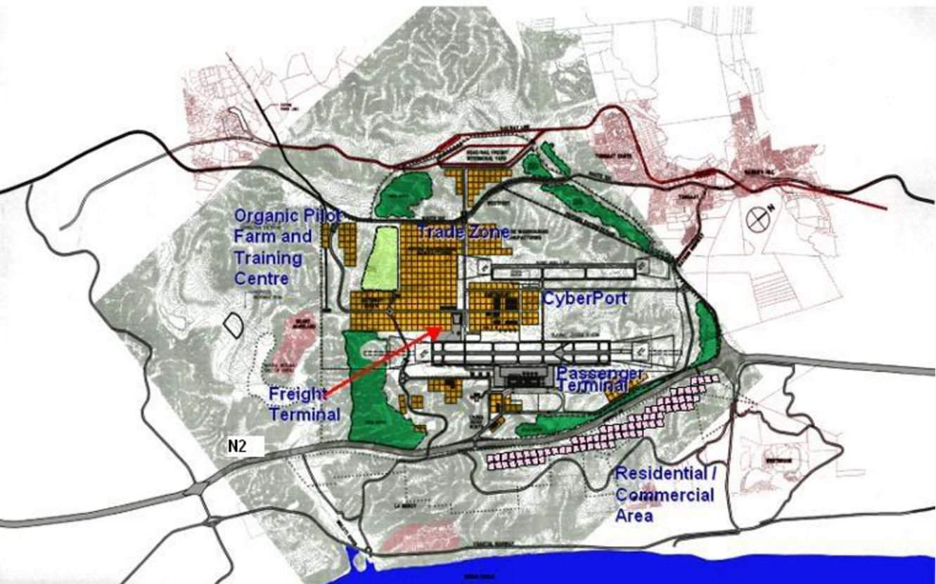 Master plan for the Dube Trade Port, KZN, South Africa. Image courtesy of  Dysan1 .