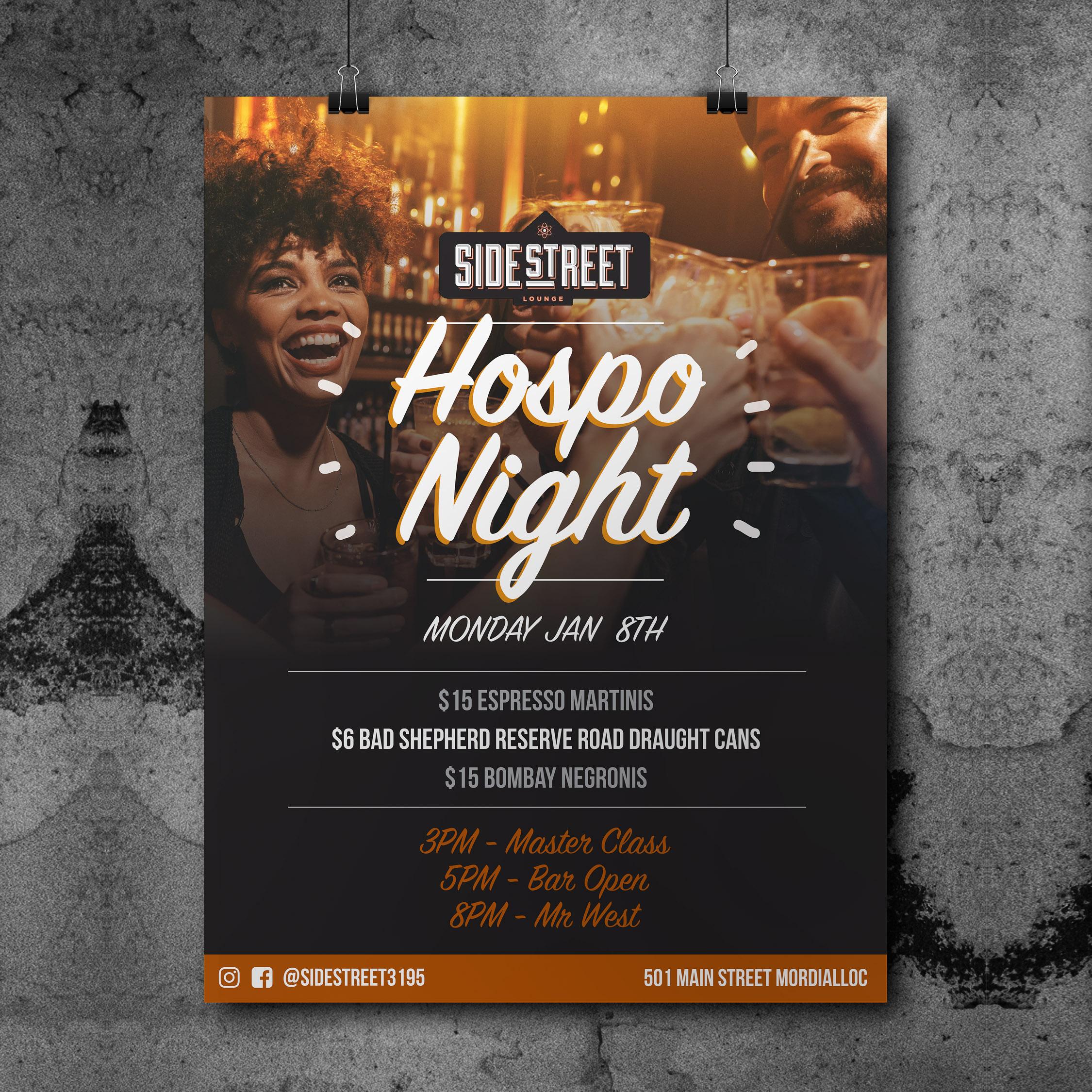Side Street Hospo Night Poster Design