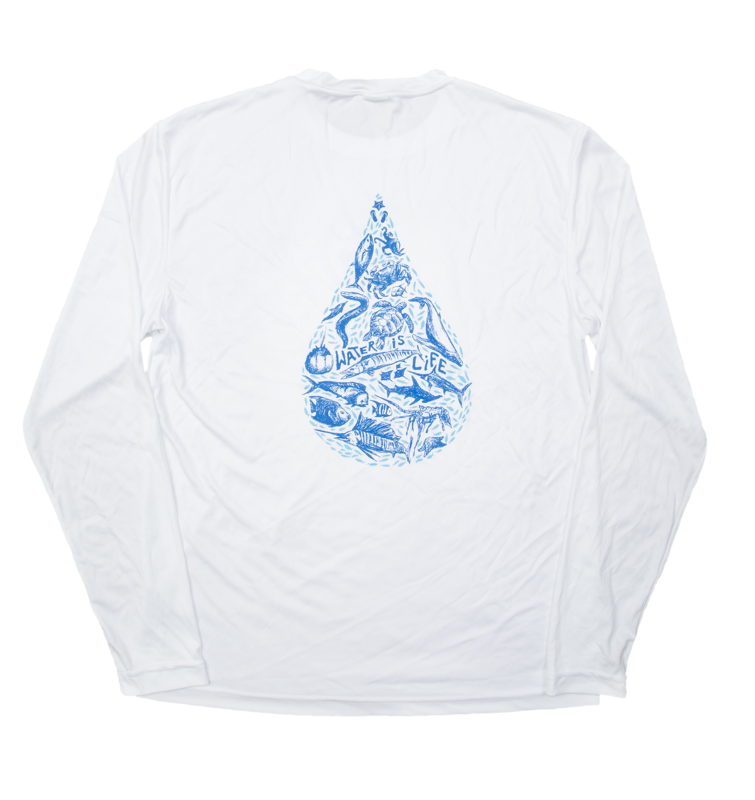 Featured product: unisex    Water Is Life  long-sleeved technical tee- $35.00