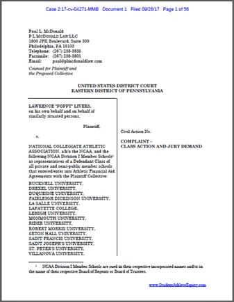 Livers v. NCAA et al.  Complaint