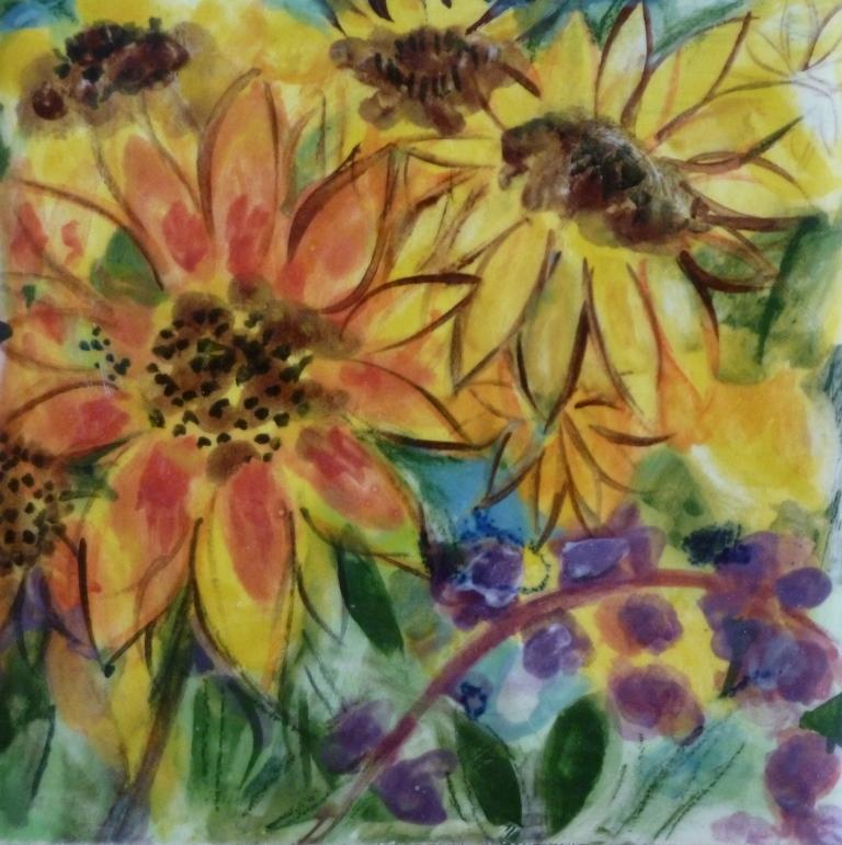 Sunflower and Purple Hyacinth - 4x4.JPG