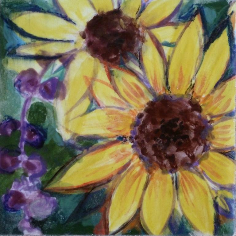 Sunflower and Purple Hyacinth II - 4x4.JPG