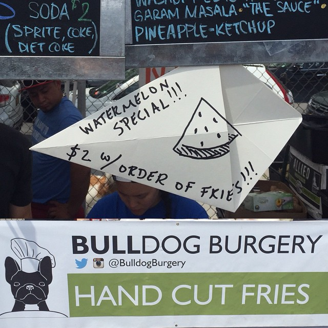 New Watermelon Special at Bulldog Burgery! $2 Watermelon with order of hand cut fries! Come get it at #LICFlea!