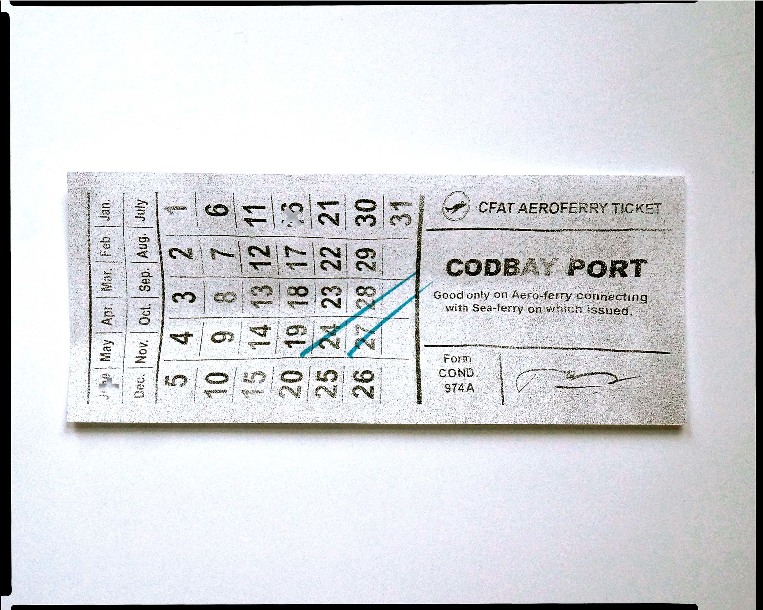 """"""" CodBay Company Ferry Ticket. """" Stub from aero-ferry route Isthaut-Wianno, Commonwealth Ferry Authority Transit; Atlantic Federation Publishing, 2120."""
