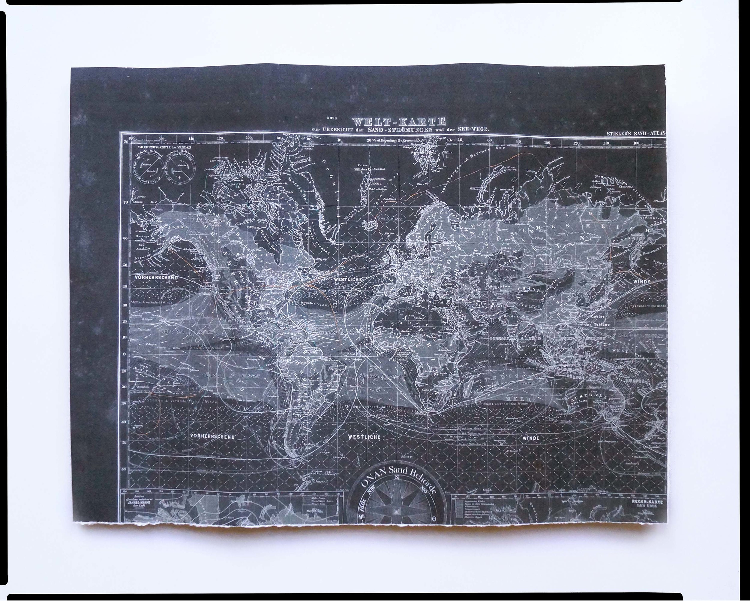 """"""" Sand Atlas World Map ."""" Map of commercial sand routes, sand currents, and vital ports around the globe; Deutsch-European Union, 2050."""