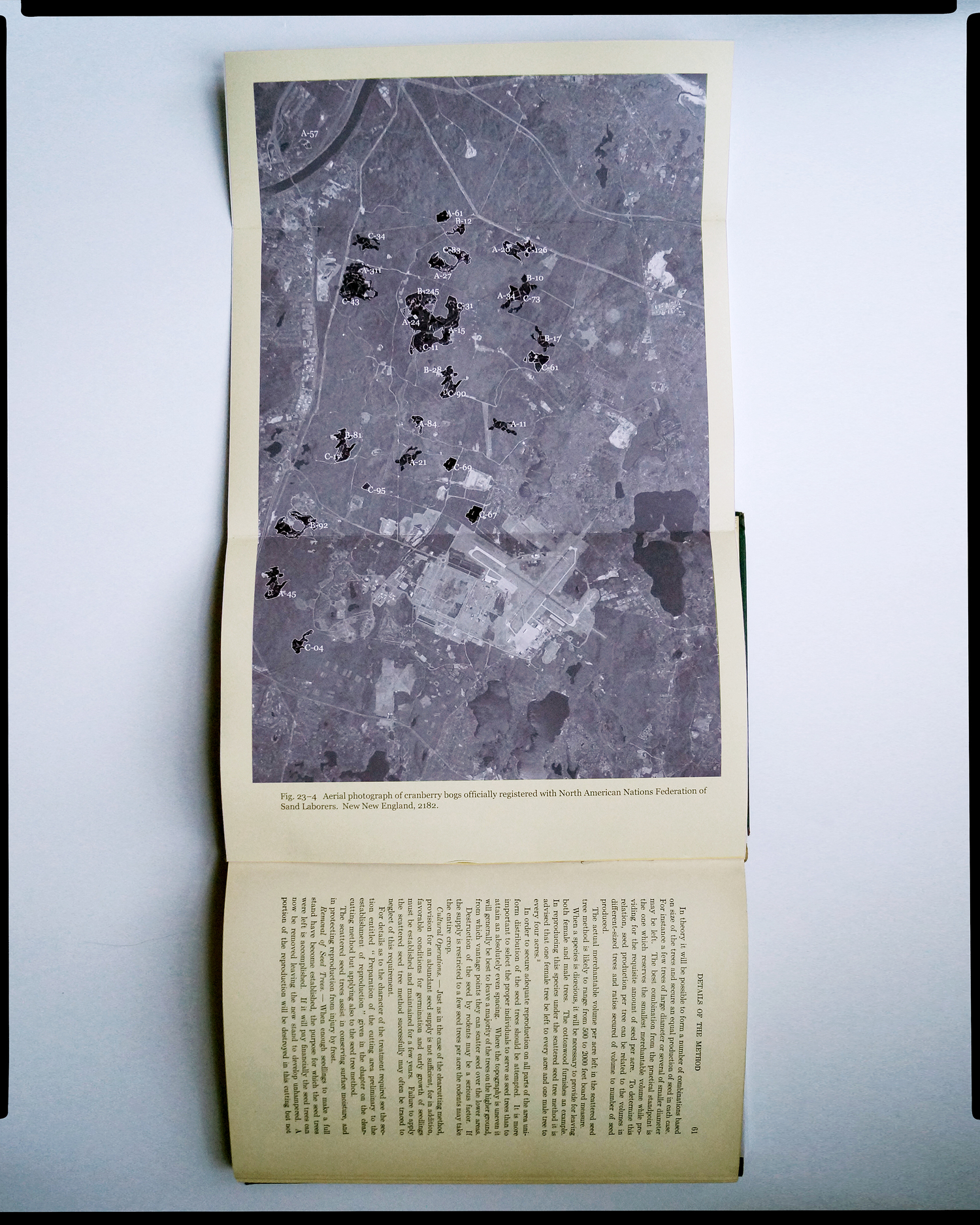 """"""" Experiments in New American Forestry and Agriculture ."""" Aerial photography of cranberry bogs developed under the 2075 ONAN-SA policy of low-bog mining, in collaboration with the Cranberry Bog Tenancy Trust; Penguin, McMillan & Muller, 2182."""
