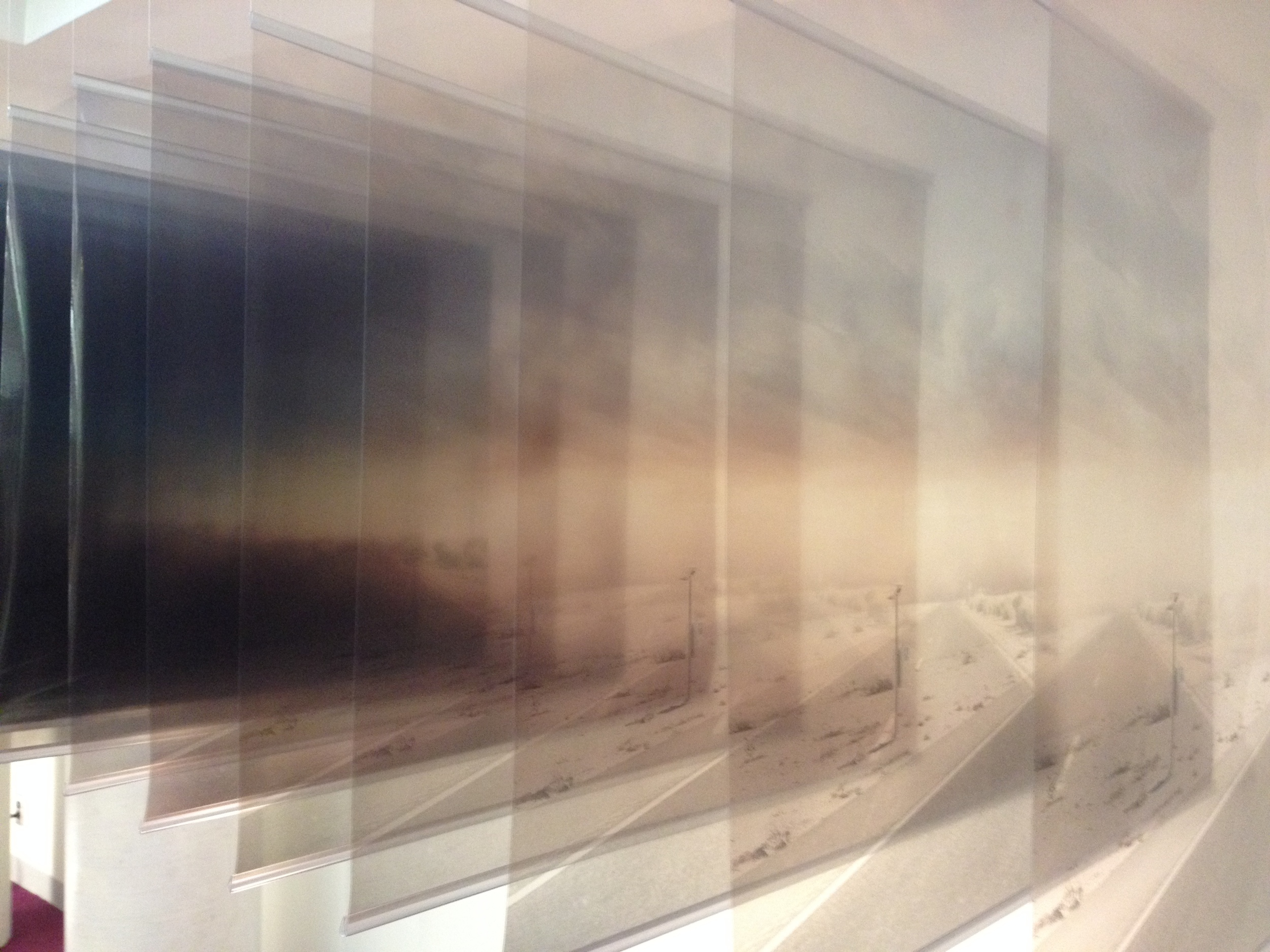 ASLA Nomination 2015  Exhibition: 9-screen single-channel video, time-stamped serial imagery model, acrylic representation of dust storm, view finders, speculative cartography and design imagery, exhibition book  Gropius Room, Harvard University, 14 May 2015  Photograph: Emily Wettstein