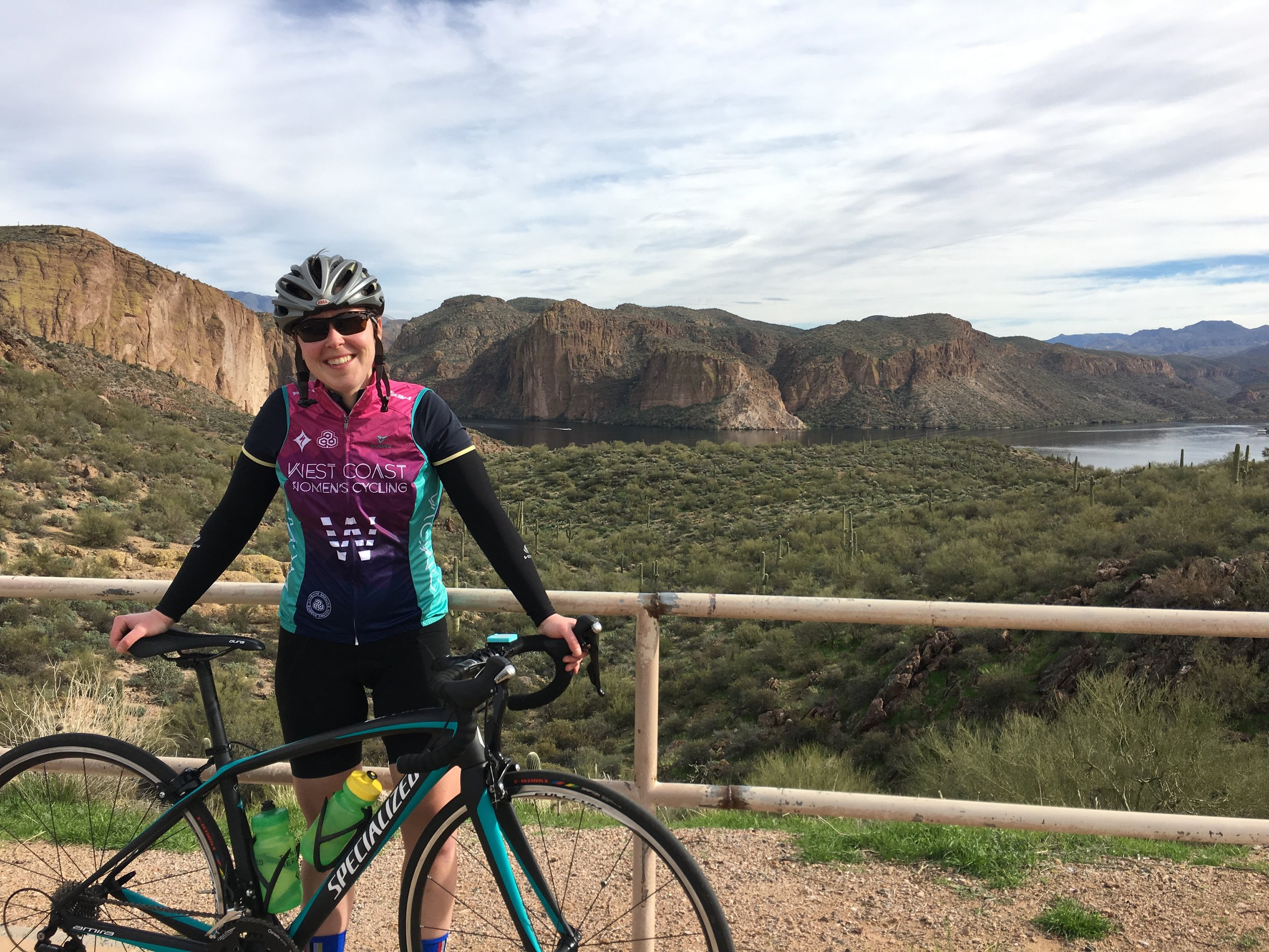 Christine found summer a little earlier than the rest of us - here she is down in Phoenix this past winter. The ride was out of Lost Duchman State Park to Tortilla Flat.  Here's to finding longer summers!