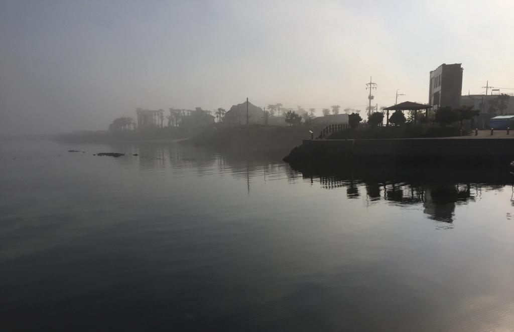 Morning haze hanging over Jeju island, South Korea.