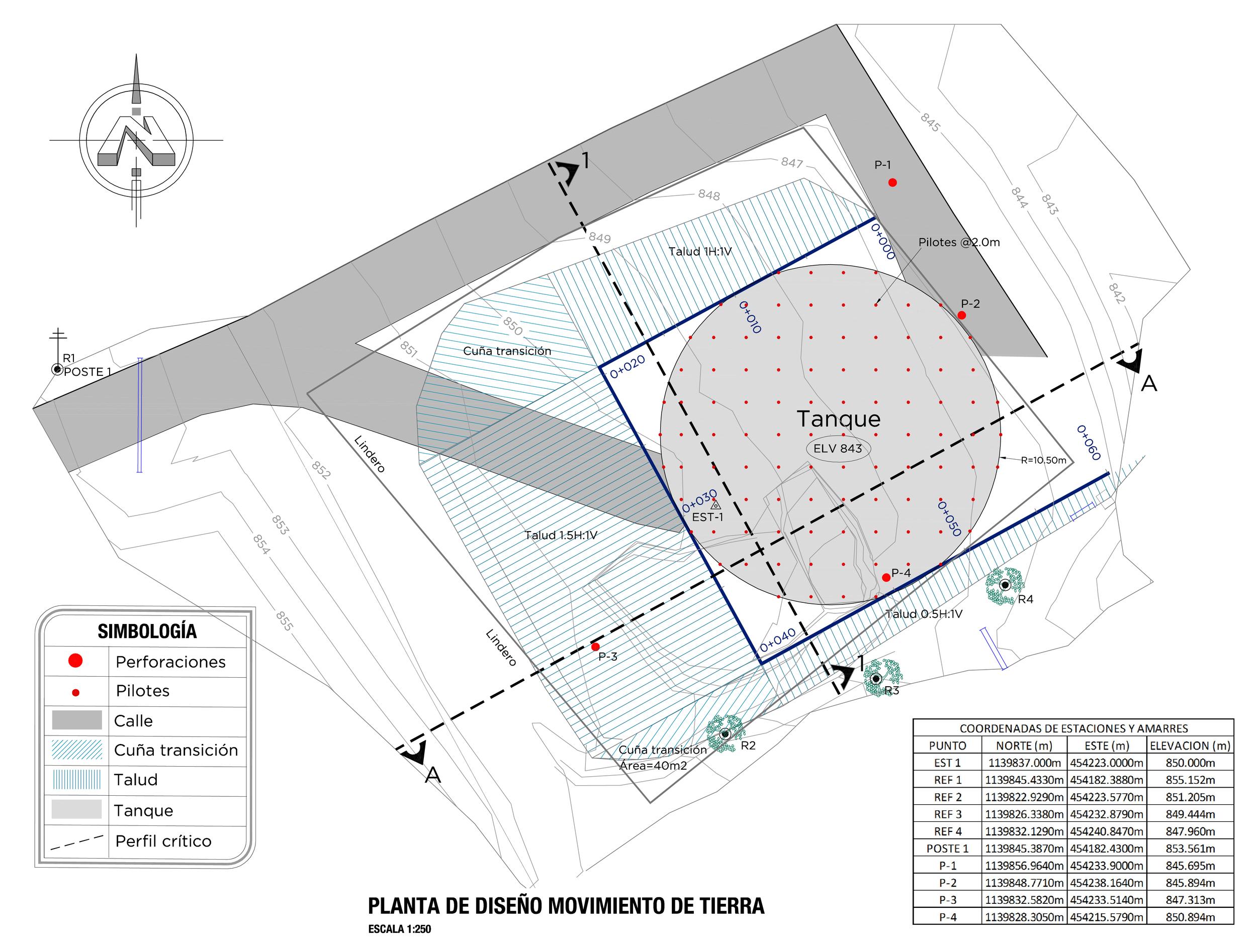 Esquema del diseño propuesto para la cimentación parcialmente compensada para el tanque de agua.