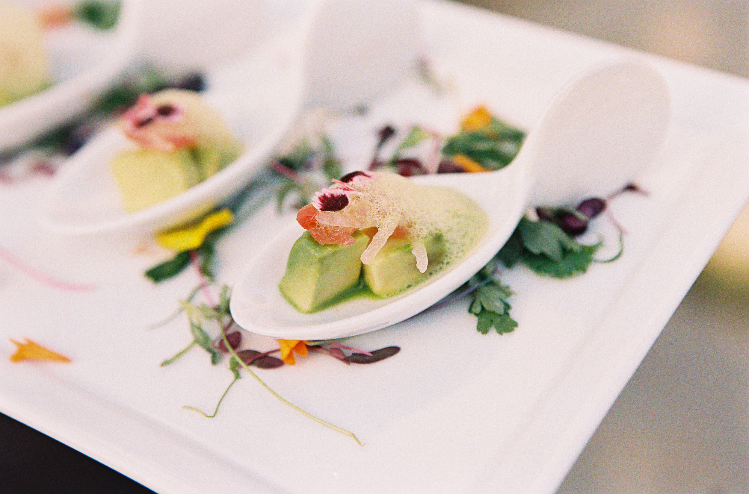 %22deconstructed guacamole%22 avocado cube, heirloom tomato soaked shallot fingerlime, cilantro bubbles.jpg