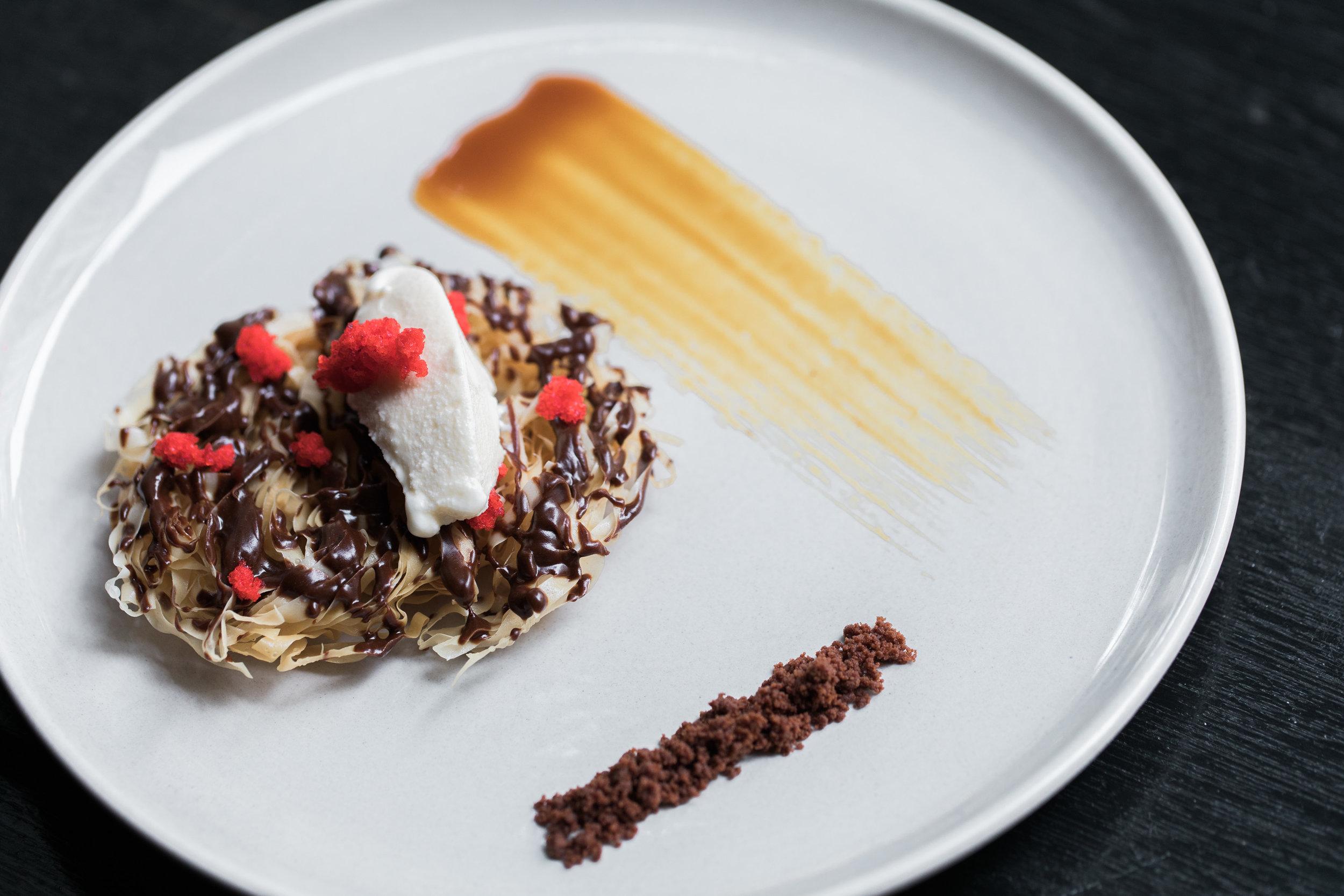Phyllo Nest, Gianduja. Dehydrated Cherry Dust, Choco Cookie Crumble, Vanilla Cream Quenelle -- dessert .jpg