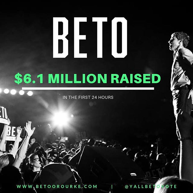 Beto O'Rourke raised a record-breaking $6M in online contributions during the first 24 hours of his grassroots campaign for President. Without a dime from PACs, corporations or special interests.  Let's keep the momentum going by setting up a monthly contribution at www.betoorourke.com . . . . #beto2020 #betoorourke #grassroots #betofirst24 #yallbetovote #mississippiforbeto #georgiaforbeto #kentuckyforbeto #alabamaforbeto #louisianaforbeto #election2020 #records #nopacmoney