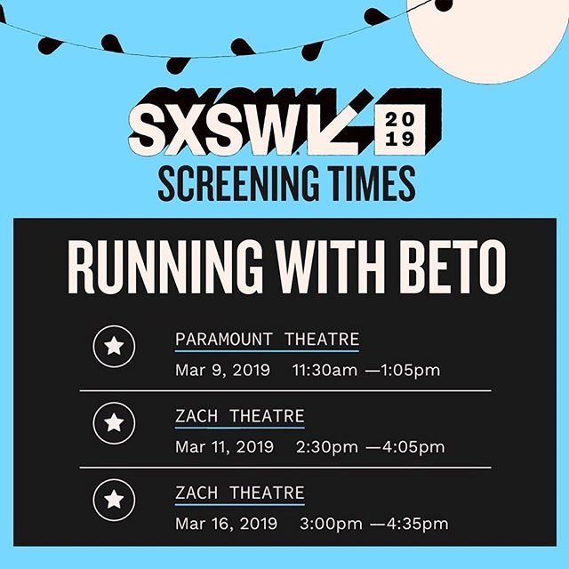 ‪We're 'running' to Austin to finally watch the #RunningWithBetoDoc @SXSW. There are three screenings during the #SXSW fest and the HBO doc airs May 28th 🏃🏻‍♂️👨🏻‍💼‬. . . . . ‪#RunBetoRun #Beto2020 #YallBetoVote ‬#betoorourke #betodaysarecoming #atx #sxsw2019 #sxswfilm